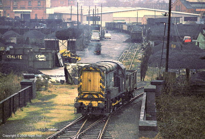 Diesel shunter with coal wagon, Leicester Central goods yard