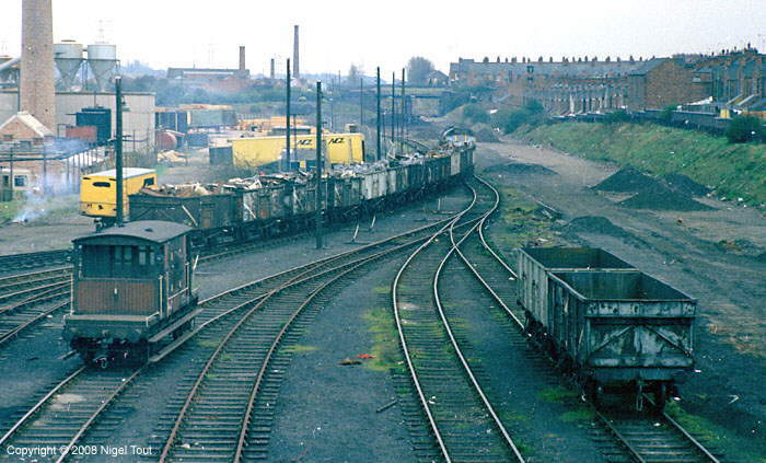 Class 25 diesel locomotive shunting scrap sidings at Leicester GCR goods yard