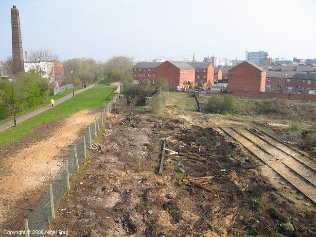 Cleared trackbed, north of Upperton Road bridge, GCR, Leicester