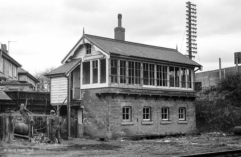 Derelict Loughborough Central signal box, 1973