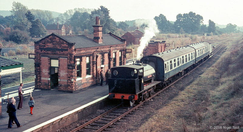 """Robert Nelson No. 4"" at Quorn and Woodhouse station with a train for Loughborough, 1973"