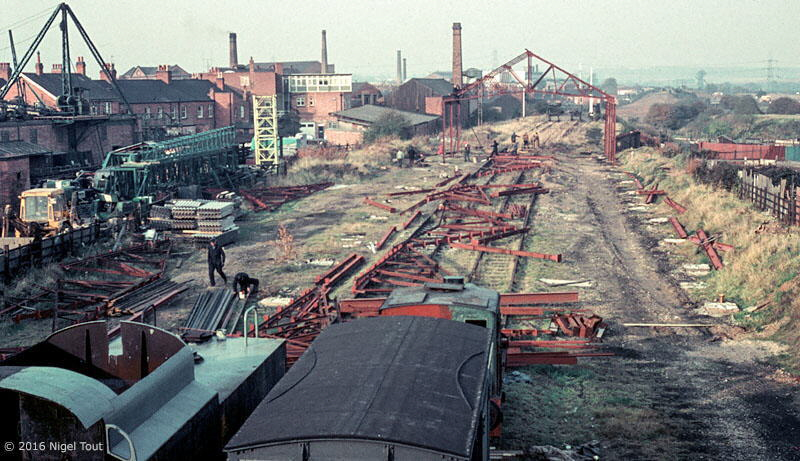 GCR Loughborough Central locomotive shed under construction, 1973