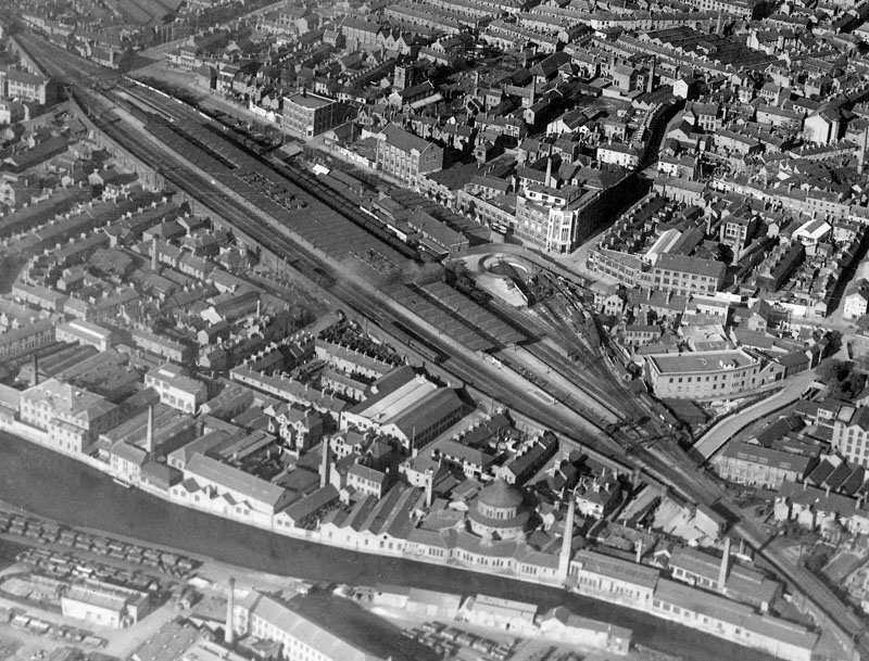 Aerial view of Leicester Central station from R101 airship