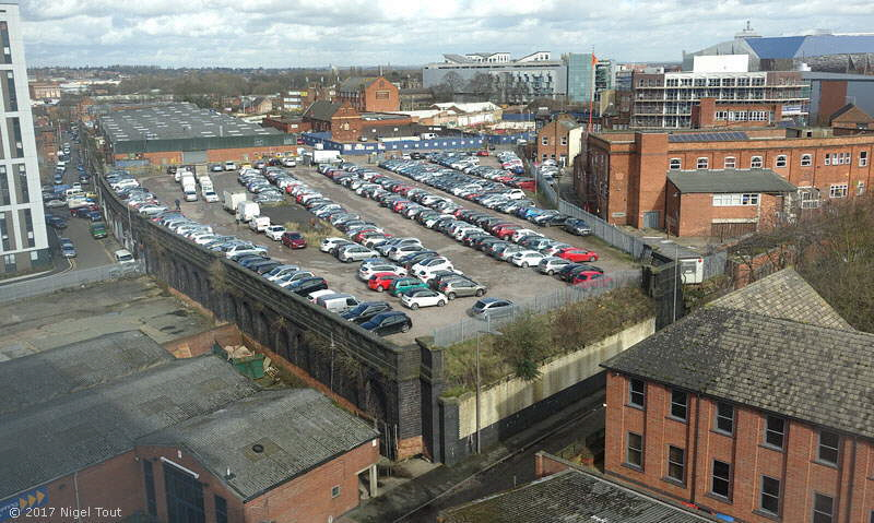 Looking down onto site of Leicester Central station