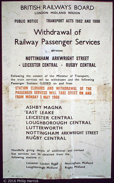 Closure notice at Leicester Central station